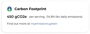 Example food carbon footprint label by My Emissions