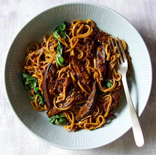 Szechuan Pepper Aubergine Noodles veganuary recipe
