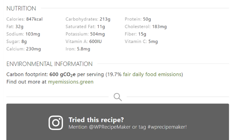 Carbon label WP Recipe Maker