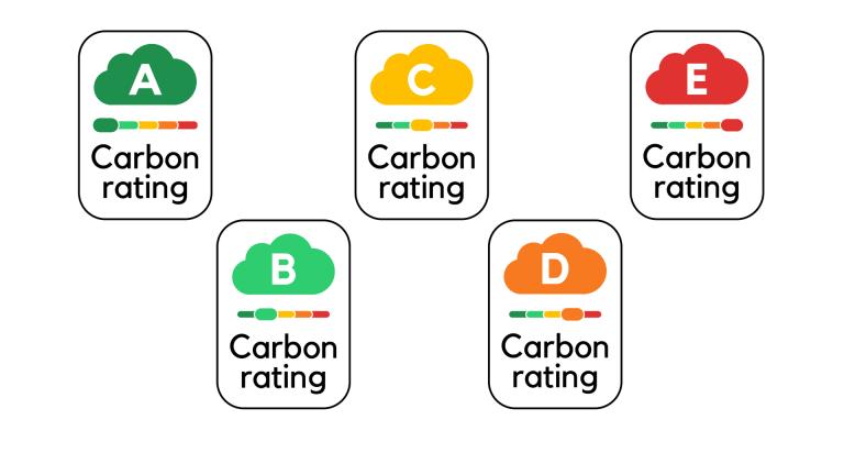 Cloud carbon footprint label A-E rating