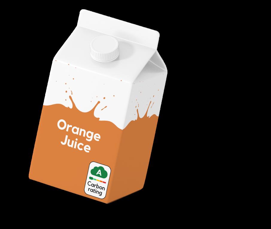 Orange juice with my emissions label